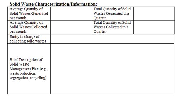 Solid Waste Charicterization Chart